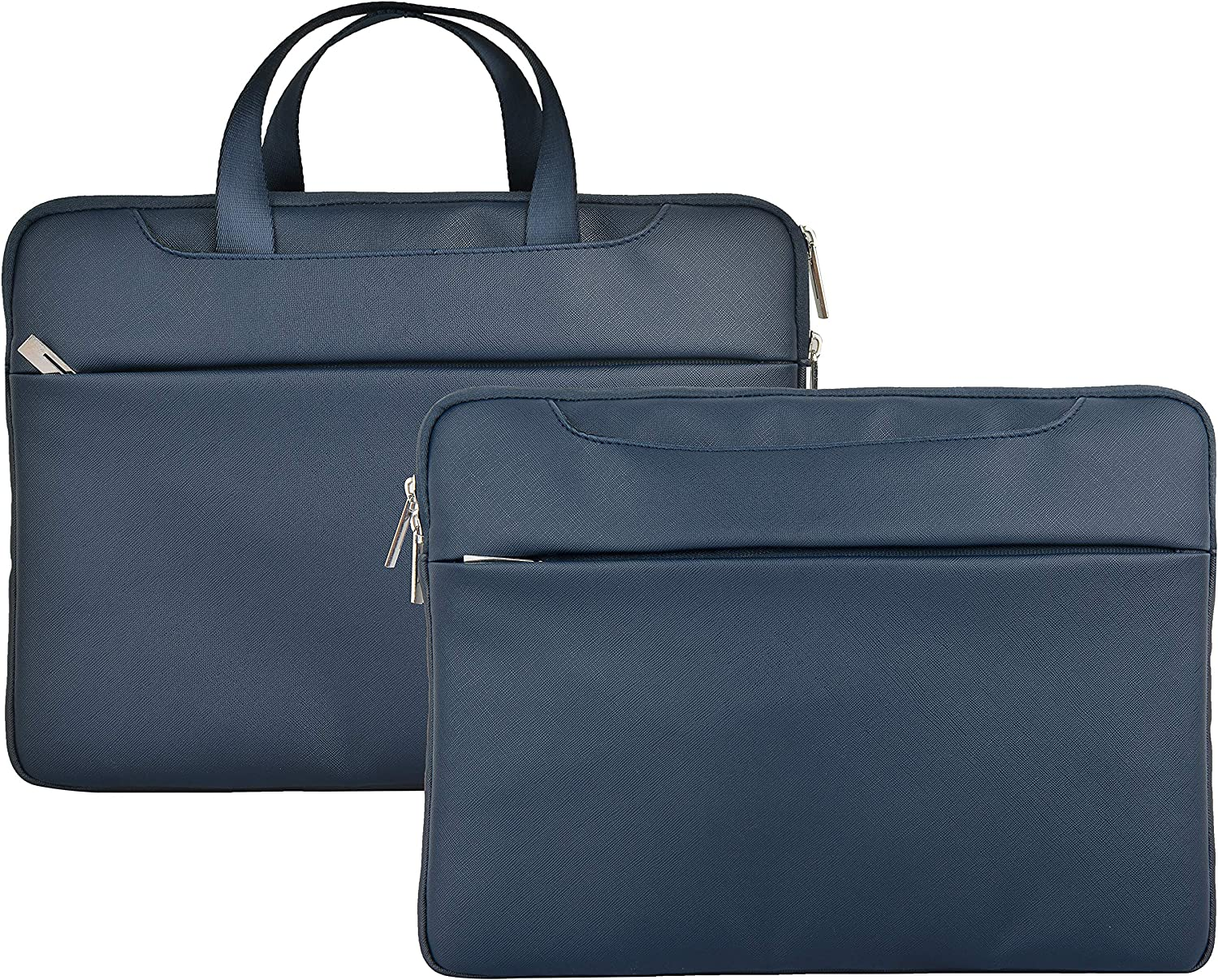 "LuvCase Laptop Leather Sleeve Briefcase Bag with Zip Pocket Handle Compatible with MacBook 12"" A1534/ Air 11.6 inch, Surface Pro 5,4,3, Chromebook, Acer, Asus, Notebook (Navy Leather Sleeve)"