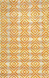 Rizzy Home Gillespie Avenue Collection Wool/Viscose Area Rug, 8' x 10', Gold/Gray/Rust/Blue Tribal/Southwest