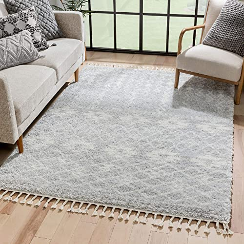 Well Woven Melody Tozi Grey Moroccan Tribal Shag 7'10″ x 9'10″ Area Rug