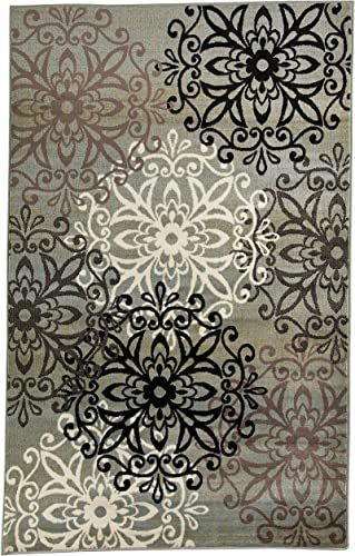 Superior Elegant Leigh Collection Area Rug, 8mm Pile Height with Jute Backing, Chic Contemporary Floral Medallion Pattern, Anti-Static, Water-Repellent Rugs – Blue, 5 x 8 Rug