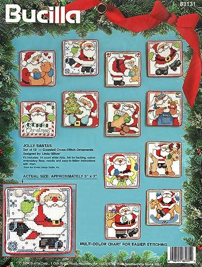 Amazon Bucilla Jolly Santas Counted Cross Stitch Ornaments