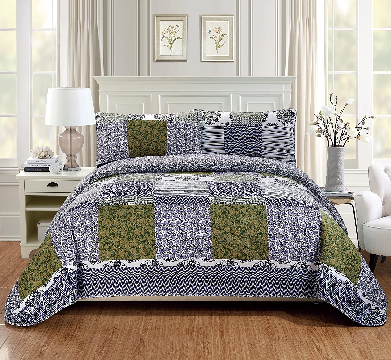 Fancy Linen 2pc Twin/Twin Extra Long Quilt Bedspread Set Over Size Bed Cover Squares Floral Stripped Zig Zag Green Purple Blue White New