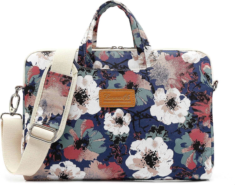 Canvaslife Blue camellia Pattern 15 inch Waterproof Laptop Shoulder Messenger Bag Case With Rebound Bubble Protection for 14 inch-15.6 inch laptop Macbook Pro 15 Case Bag