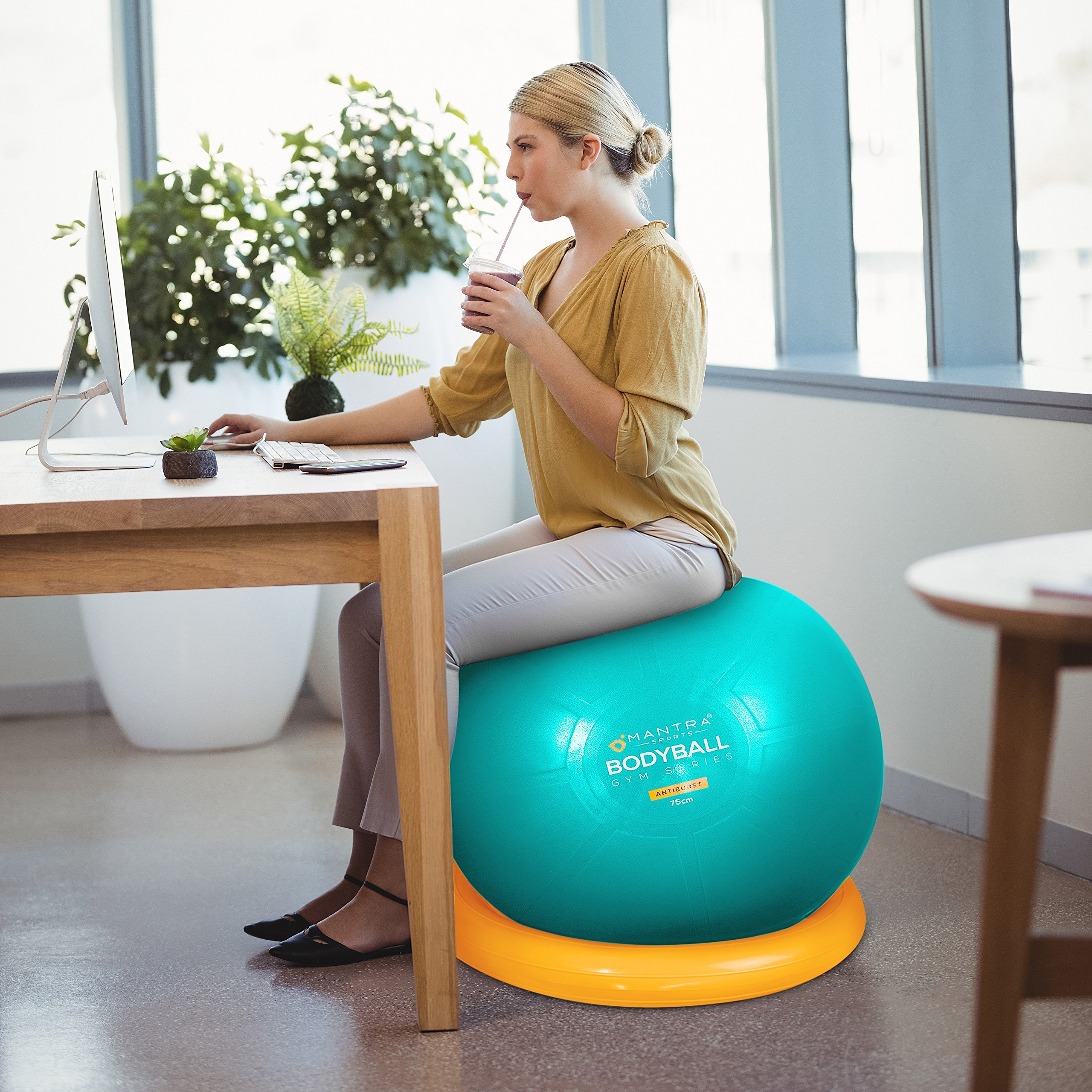 Awe Inspiring Details About Exercise Ball Chair 65Cm 75Cm Yoga Fitness Pilates Ball Stability Base For Home Interior And Landscaping Ponolsignezvosmurscom