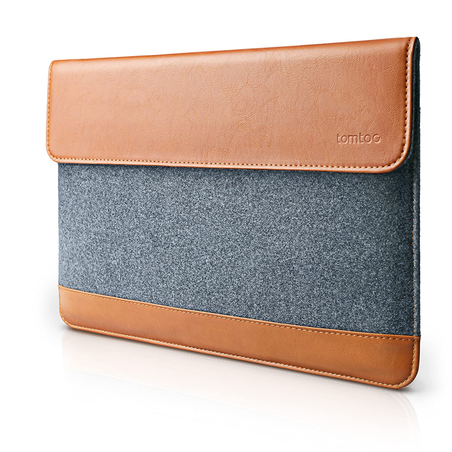 tomtoc Slim 13-13.3 Inch Laptop Sleeve Felt & PU Leather Bag with Accessory Pocket, Compatible with MacBook Air 13.3 | MacBook Pro Retina 13 2012-2015 | 12.9 iPad Pro, Support up to 12.8 x 8.94 in A15-C01Y