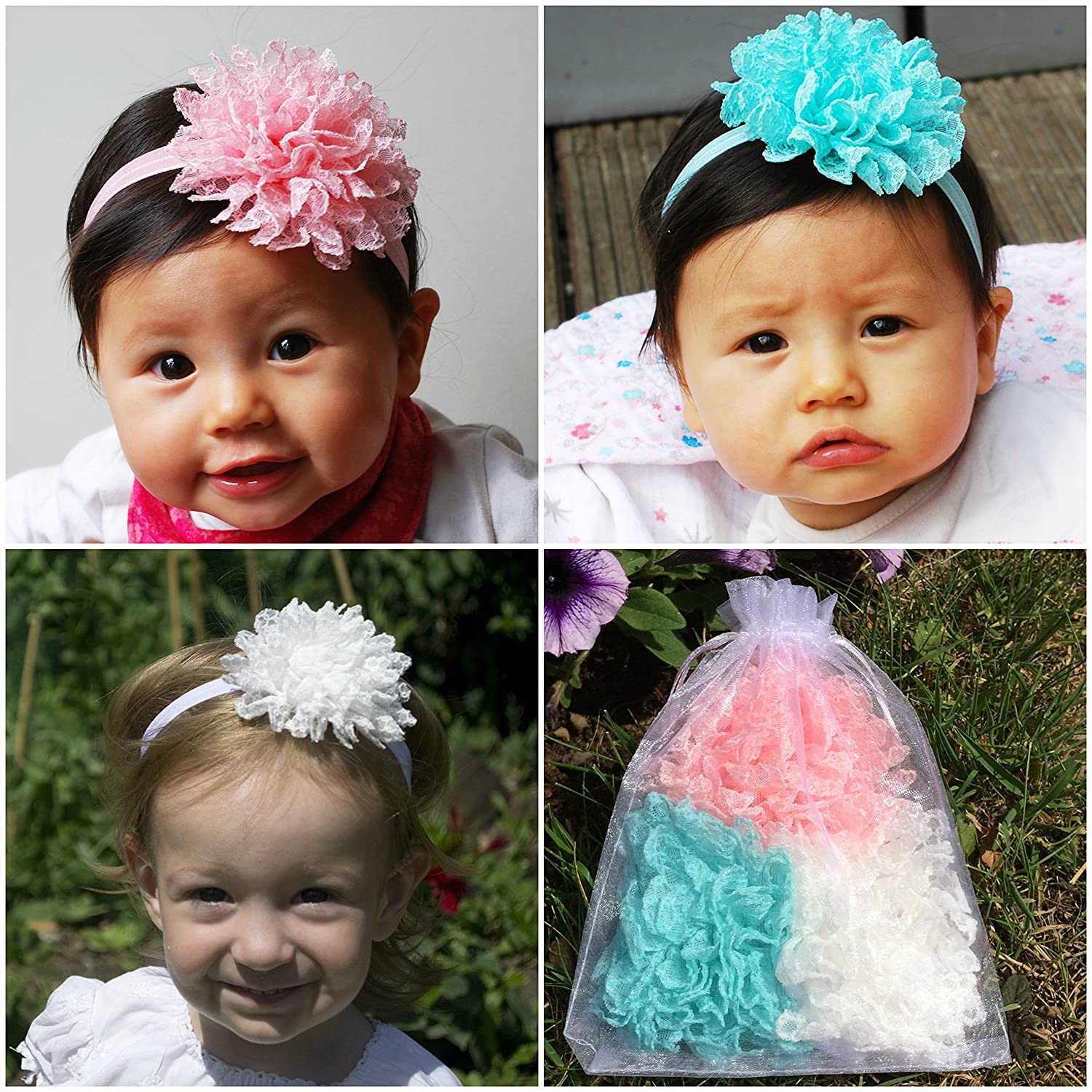Amazon queenmee pastel baby headbands set of 3 baby flower amazon queenmee pastel baby headbands set of 3 baby flower headband lace set pink flower baby headband white flower baby headband baby headbands mightylinksfo
