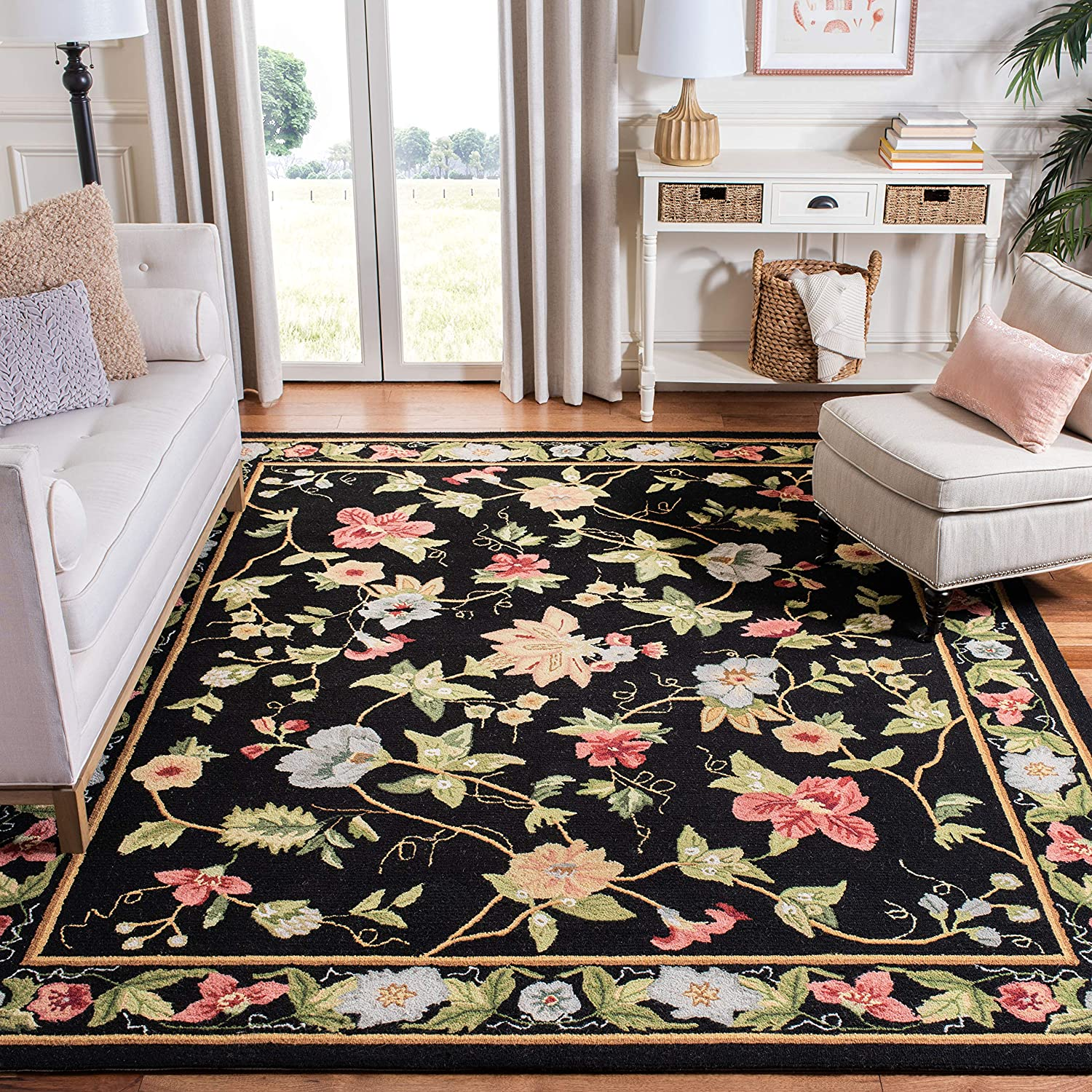 Safavieh Chelsea Collection HK311A Hand-Hooked Black Premium Wool Area Rug (6' x 9')