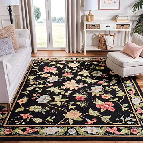 Safavieh Chelsea Collection HK311A Hand-Hooked Black Premium Wool Area Rug 8'9″ x 11'9″