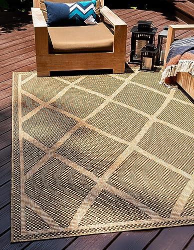 Unique Loom Outdoor Trellis Collection Geometric Lattice Transitional Indoor and Outdoor Flatweave Brown Area Rug 9' 0 x 12' 0