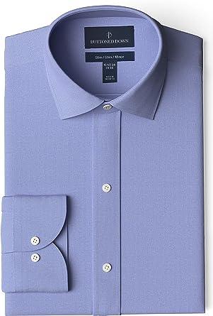 Marca Amazon - Buttoned Down Slim Fit Spread Collar Solid Pocket Options Hombre: Amazon.es: Ropa y accesorios