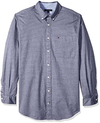 b1310b2c061 Amazon.com  Tommy Hilfiger Men s Big and Tall Big   Tall Capote Long Sleeve  Shirt  Clothing