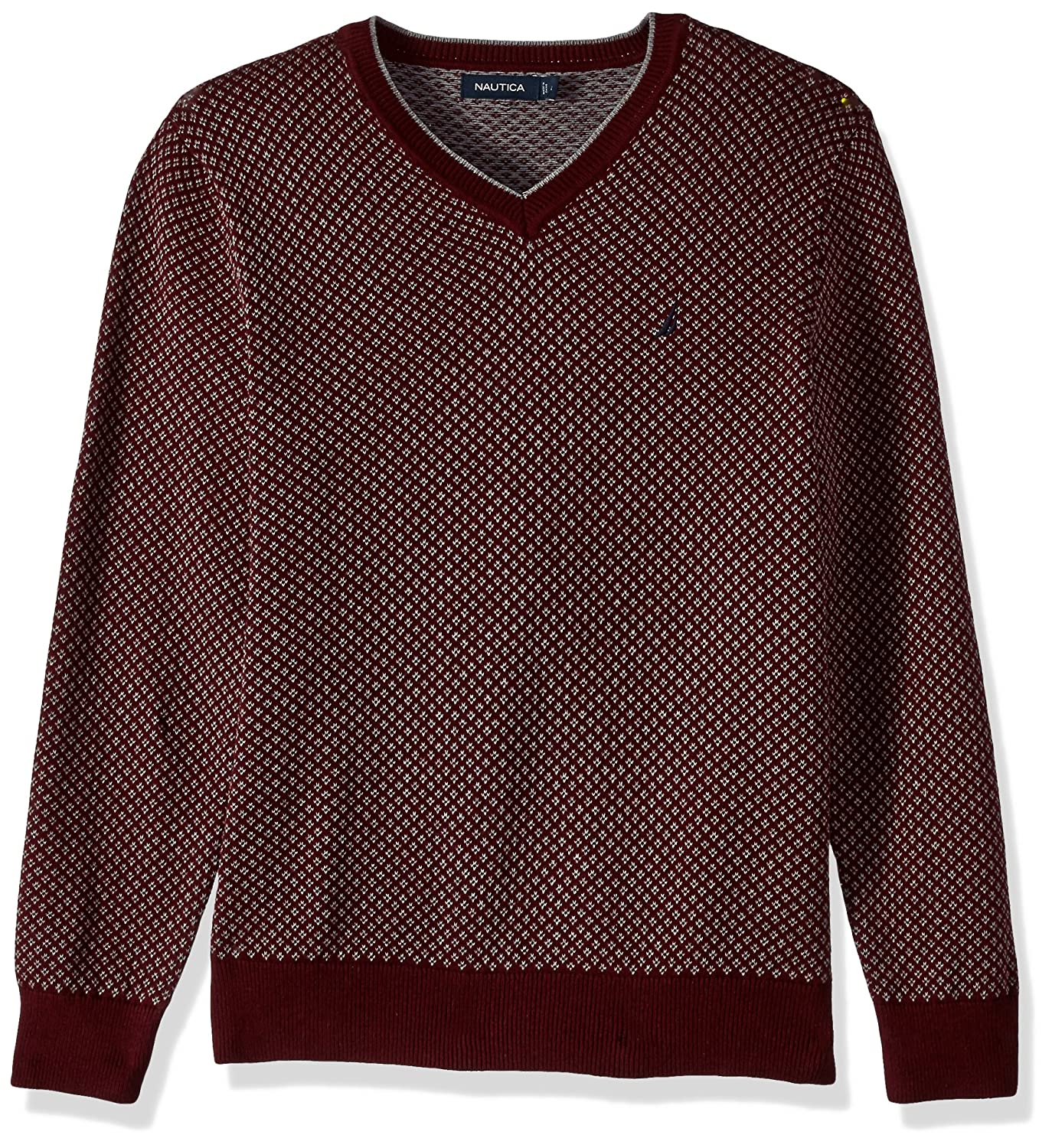 Nautica Mens Long Sleeve Jacquard V Neck Sweater With Tipping At