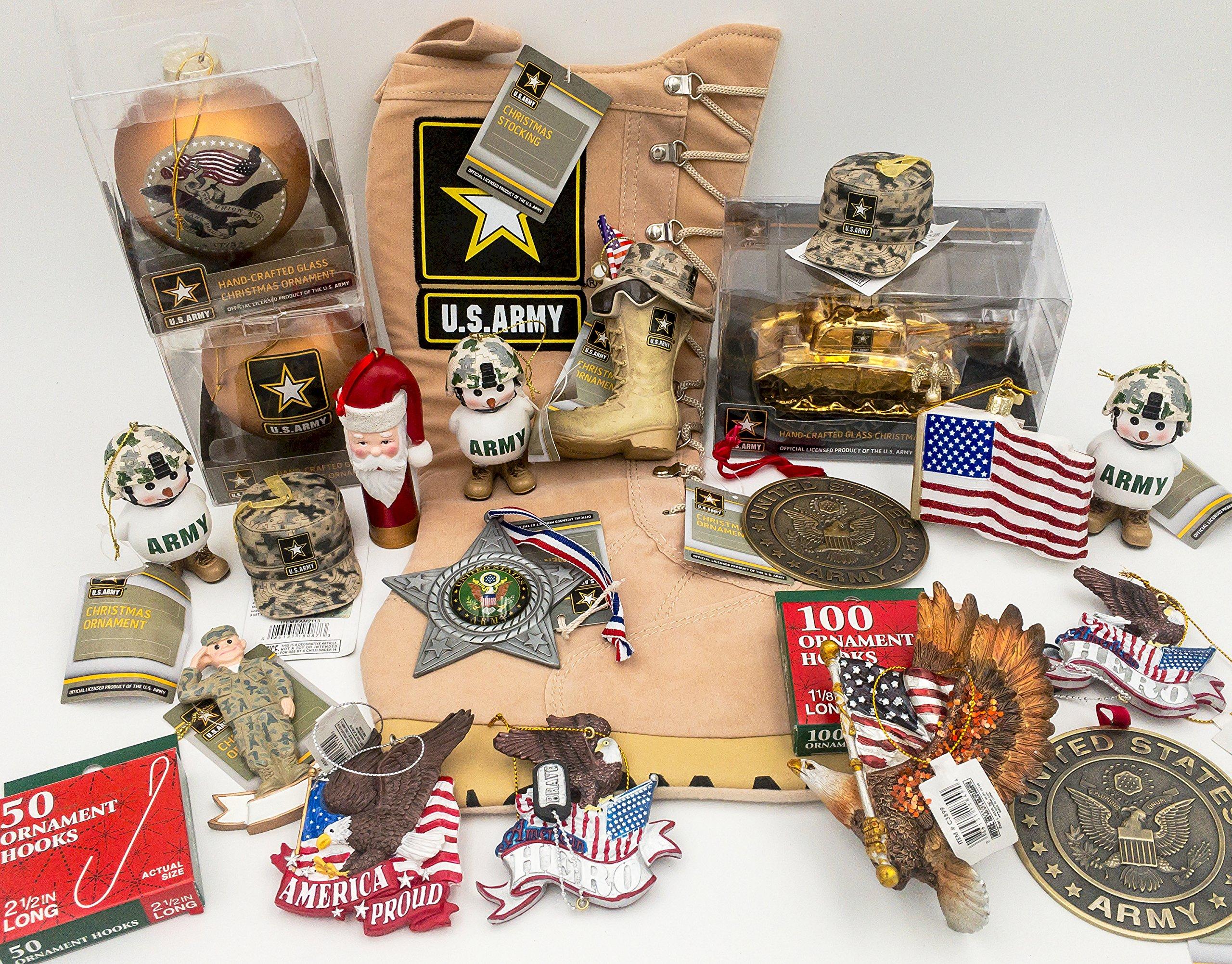 JZ Bundles Large Set - Army - Kurt Adler - 22-Piece Bundle - A Bundle of Christmas Ornaments Great Gift