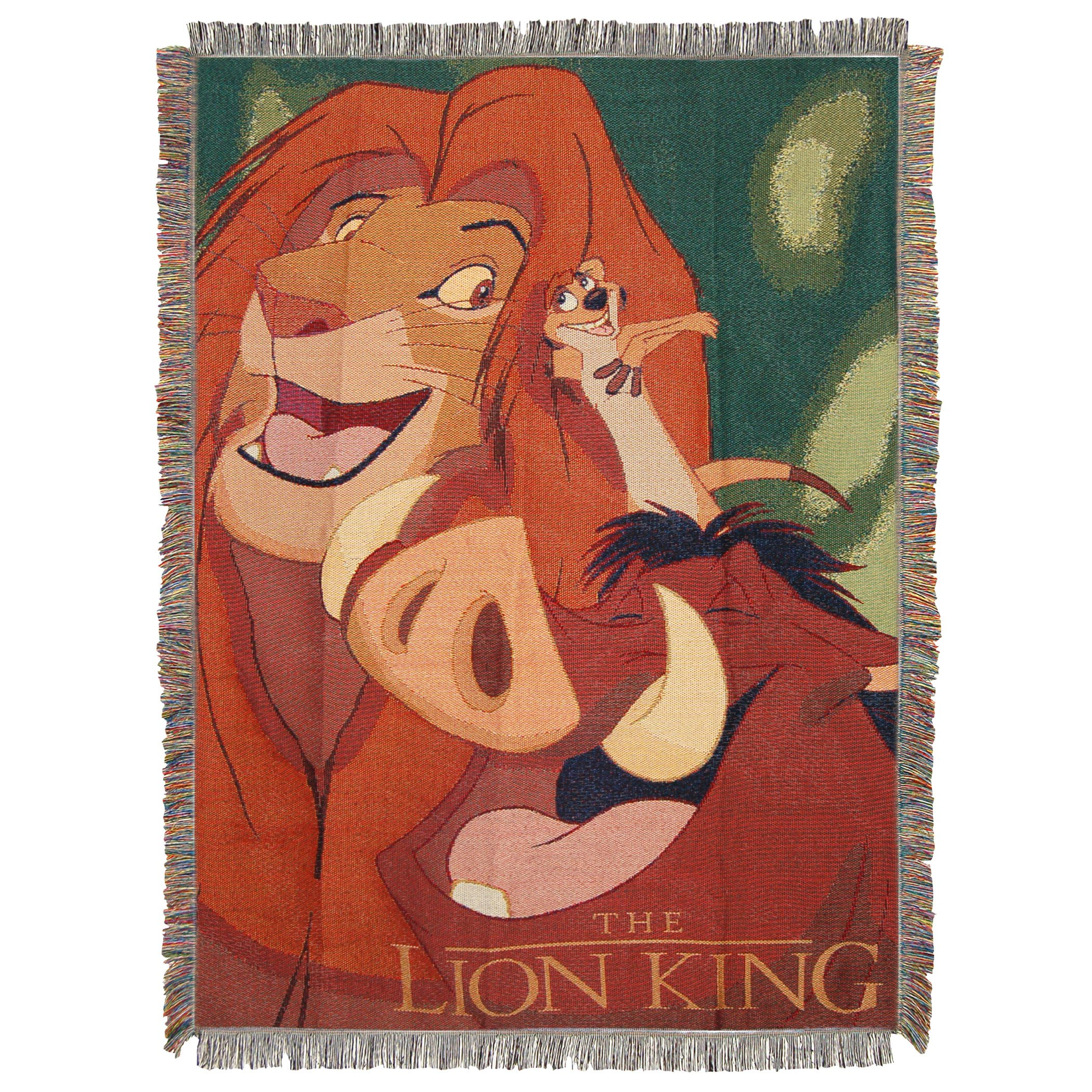 Disney The Lion King,Jungle Friends Woven Tapestry Throw Blanket, Multicolor