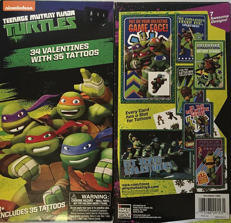 Teenage Mutant Ninja Turtle Valentines with Tattoos ~ 34 count ~ 1 box