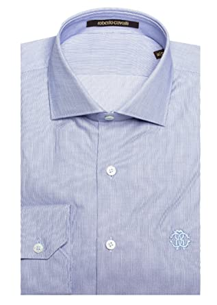 ffdc6adc6 Roberto Cavalli Men's Spread Collar Cotton Dress Shirt Blue at ...