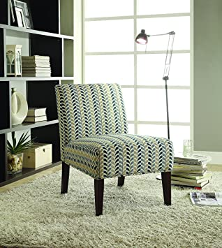 Beau Coaster Home Furnishings 902059 Contemporary Leaf Armless Accent Chair,  Blue And Beige