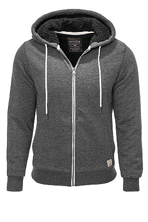 JACK   JONES Herren Sweatjacke mit Kunstpelzfutter Hoodie Sweatshirt (Dark  Grey Melange, ... 150087385d