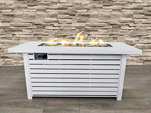 Century Modern Outdoor Bridgeport Rectangle Steel Propane Fire Pit Table