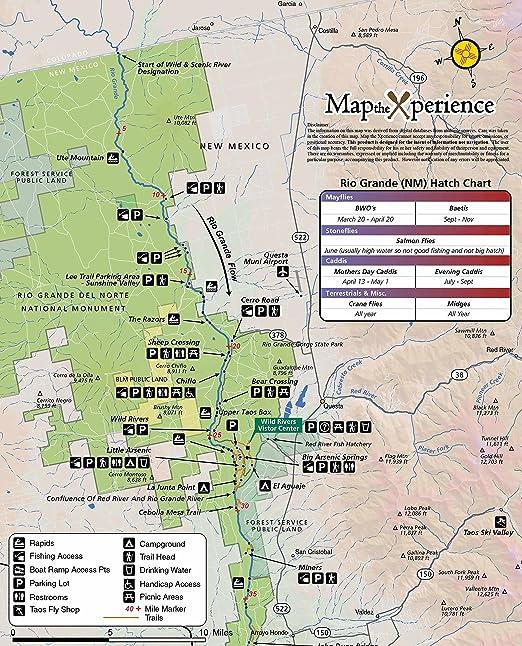 Rio Grande River New Mexico Map.Amazon Com Rio Grande River New Mexico 15x11 Paper Fishing Map