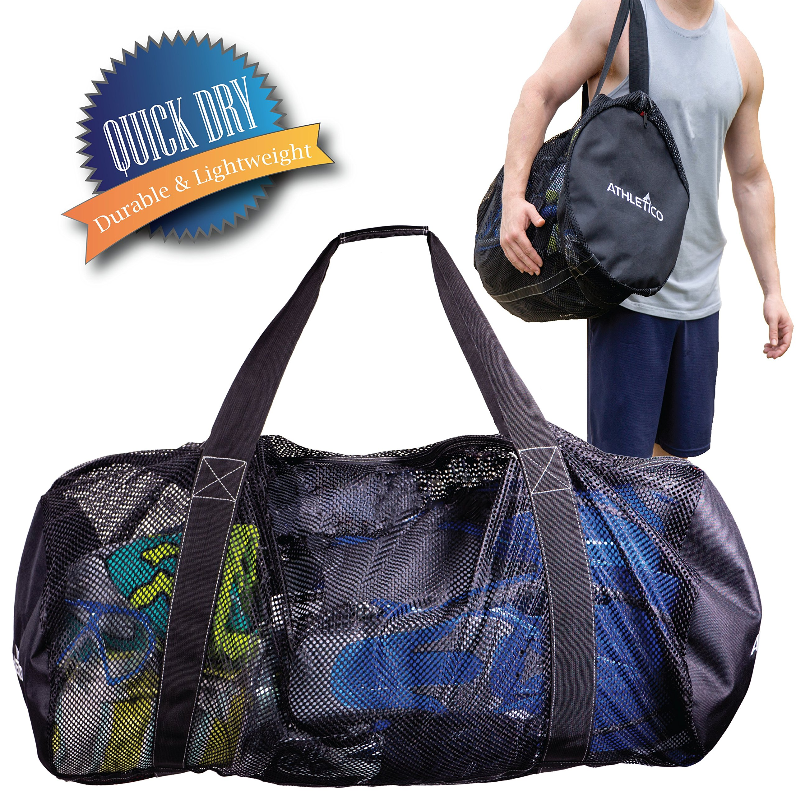 Athletico Mesh Dive Duffel Bag for Scuba or Snorkeling - XL Mesh Travel Duffle for Scuba Diving and Snorkeling Gear & Equipment - Dry Bag Holds Mask, Fins, Snorkel, and More by Athletico