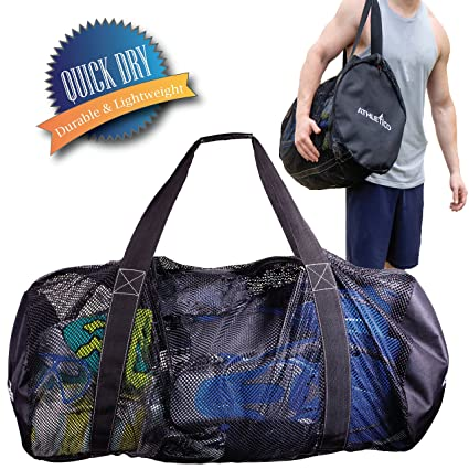0ccd2bbfa2df Athletico Mesh Dive Duffel Bag for Scuba or Snorkeling - XL Mesh Travel  Duffle for Scuba Diving and Snorkeling Gear & Equipment - Dry Bag Holds  Mask, ...