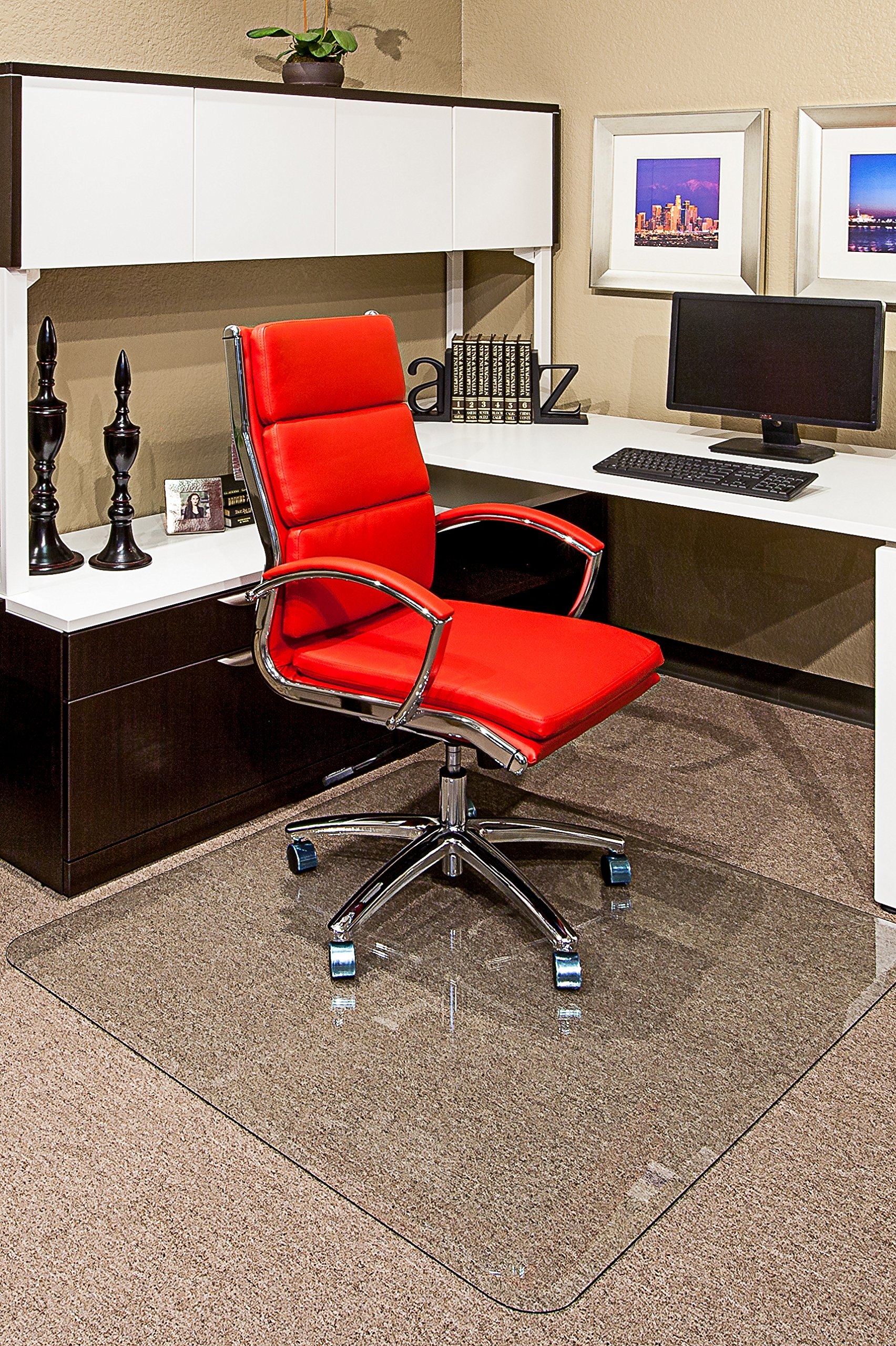 36'' x 46'' Clearly Innovative Lifetime Glass Chairmat with Patented Beveled Edges