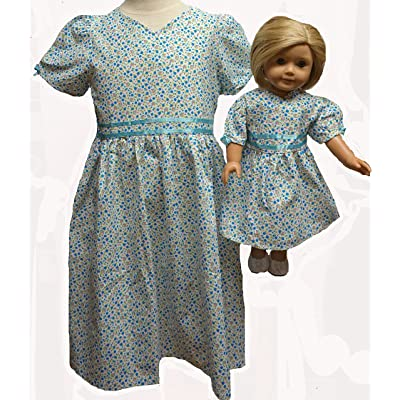 Doll Clothes Superstore Size 6 Matching Girl and Doll Blue Flower Dresses: Toys & Games