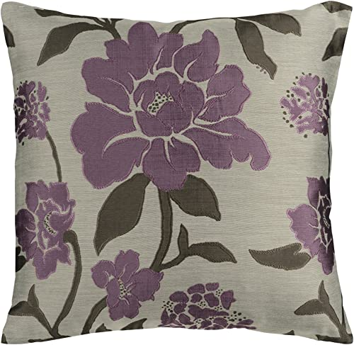 Artistic Weavers HH-048 Hand Crafted 88 Polyester 12 Polyamide Plum 18 x 18 Floral Decorative Pillow