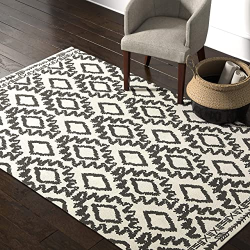 Rivet Black and Ivory Global Print Cotton Area Rug, 5 x 8 Foot