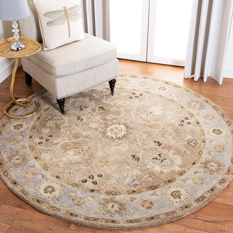 Amazon Com Safavieh Anatolia Collection An585f Handmade Traditional Oriental Premium Wool Area Rug 6 X 6 Round Tan Ivory Furniture Decor
