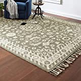 Amazon Brand – Stone & Beam Barnstead Floral Wool Area Rug, 8 x 10 Foot, Charcoal and Beige