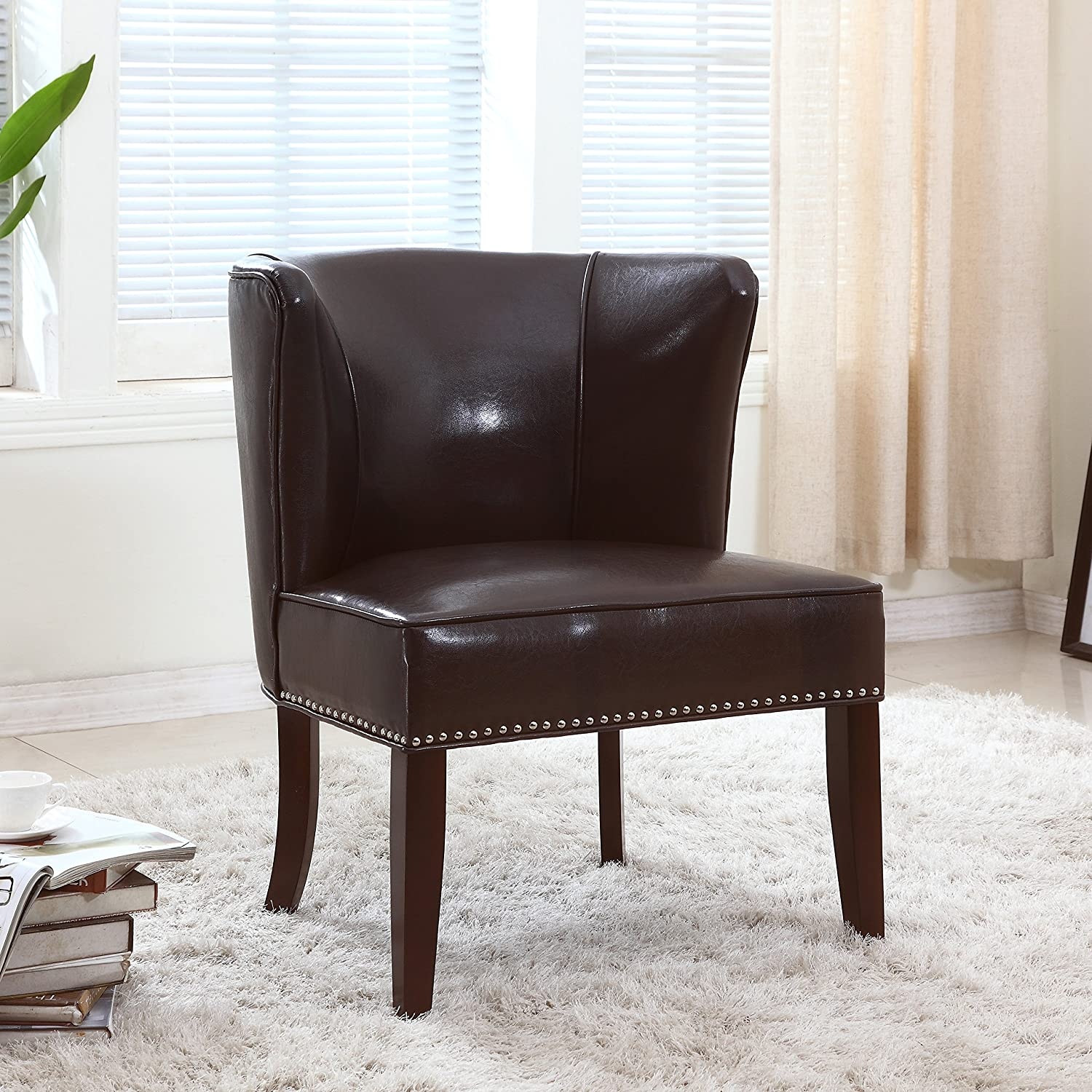 Amazon.com: Best Master Furniture Contemporary Faux Leather ...