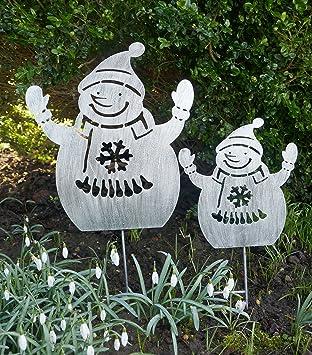 Gartenstecker Weihnachten.Mw Handel Metallstecker 2er Set Gartenstecker Silber Deko Tannen Xmas Weihnachten Tannenbaum Schneemänner