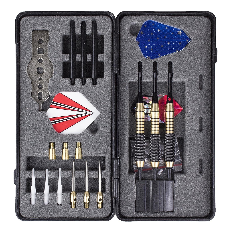 inkl EXTRA 6 Ersatzspitzen Tips f/ür e-Darts Soft-Darts f/ür eine elektronische oder Kork Dartscheibe Verstellbares Gewicht Dart-Pfeile Starter-Set Steel-Darts