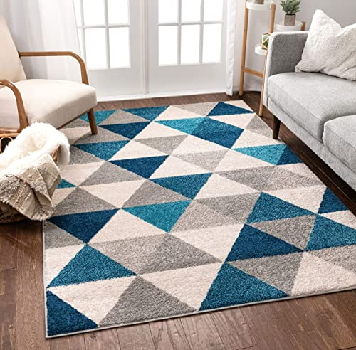 Well Woven Isometry Blue Grey Modern Geometric Triangle Pattern 7 10 x 9 10 Area Rug Soft Shed Free Easy to Clean Stain Resistant