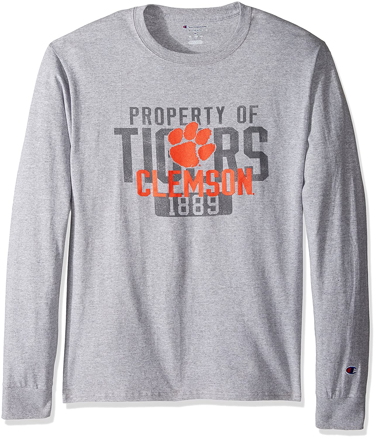 Champion NCAA Mens Long Sleeve Lightweight T-shirt Officially Licensed 100/% Cotton Tagless Tee Clemson Tigers X-Large