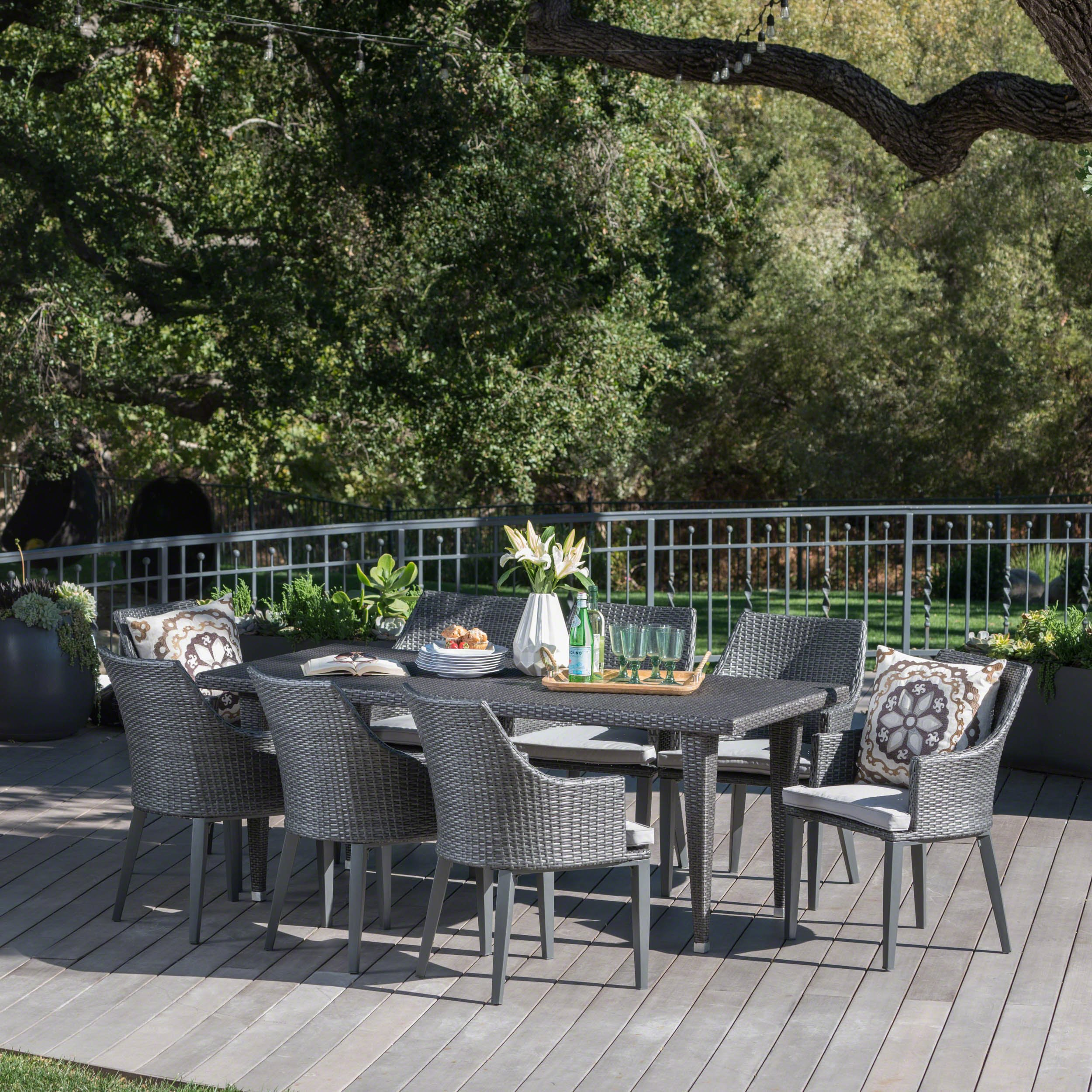 Lenny Outdoor 9 Piece Grey Wicker Rectangular Dining Set with Light Grey Water Resistant Cushions by Great Deal Furniture