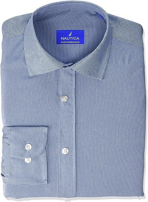 Nautica - Camisa de rendimiento con cuello extendido para hombre - Azul - 41 cm- 42 cm Cuello 86 cm- 89 cm Manga: Amazon.es: Ropa y accesorios