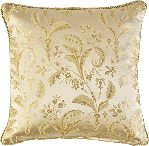 Violet Linen LUXURY DMSK-C Luxury Damask Decorative Throw Pillow, 18 X 18 , Gold