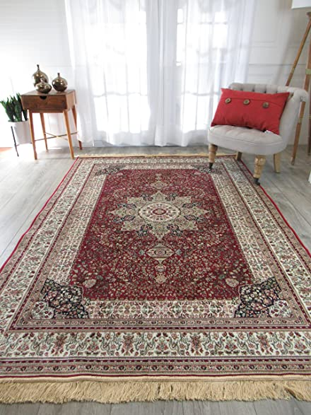 Amazon.com: Luxury Red Silk Area Rugs for Living Room Traditional ...
