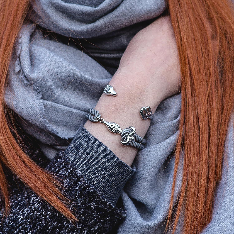 Or Bracelets Femmes Hommes en Acier Inoxydable de Verrouillage Sangle en Nylon Renard Ancre Akitsune Bracelet Vulpes Corde /à Voile