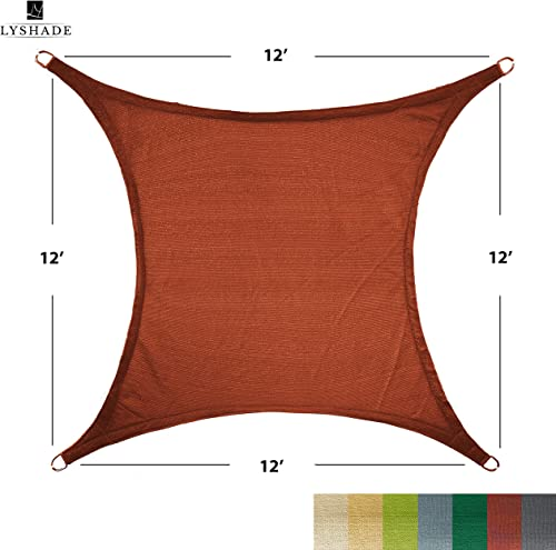 LyShade 12 x 12 Square Sun Shade Sail Canopy Terracotta – UV Block for Patio and Outdoor