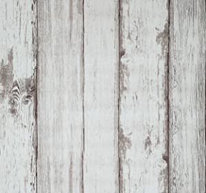 Arthome Wood Wallpaper,20.8 x 222 inch Self Adhesive,Beige Wood Plank Distressed Wallpaper, Peel and Stick Wall Paper for Wall Decoration Living Room TV Background Furniture Countertop Shelf Liner