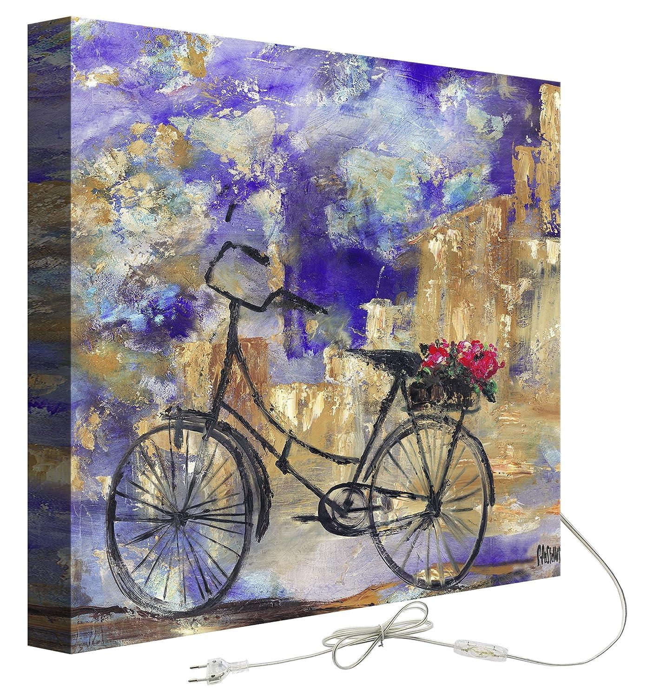 Decoralive Bicicletta Lilla-Quadro con retroilluminazione, 50 x 50 x 5 cm GustoHome GRE0893G050050