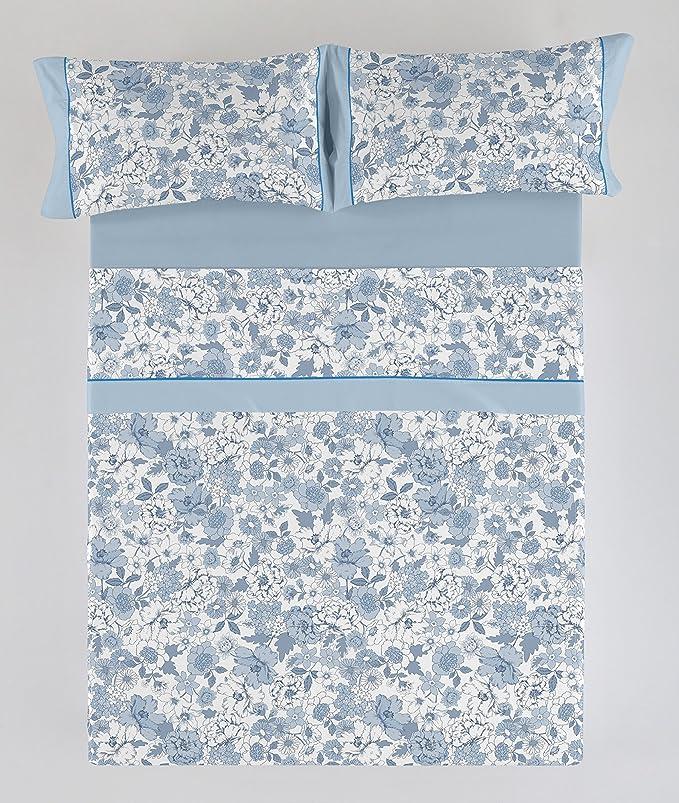 /Lit DE 90/cm/ / /50/% coton//50/% Polyester/ /Set de draps imprim/ées Erica Couleur Bleu /144/Fils 3/pi/èces ESTELA ES-Tela/
