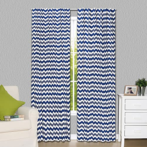 Navy Blue Zig Zag Print Blackout Window Drapery Panels – Two 84 by 42 Inch Panels