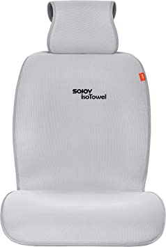 Gray with Quick-Dry Grey Sojoy IsoTowel Car Seat Cover All-Weather Microfiber Seat Protector Car seat Protection for All Workouts No-Slip Technology Sojoy Auto Accessories
