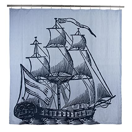 Thomas Paul Galleon Shower Curtain Ink