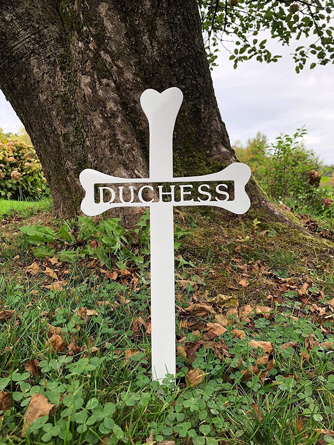 "Personalized Dog Bone Grave Marker - Custom 1/8"" Thick Steel Piece with Glossy White Finish - Handmade in America - A Tribute to the Life & Memory of your Dog - Easily Stakes into the Ground"